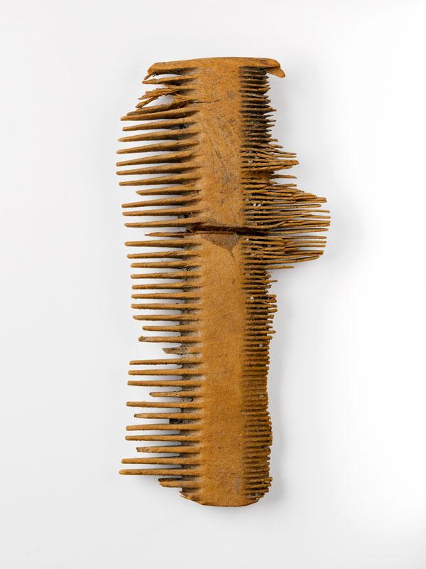 Peigne double en bois, découvert à Marseille (environs du site des docks romains), époque romaine. Musée des Docks Romains, Marseille.